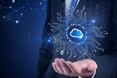 Businessman holding cloud computer interface royalty free stock photography