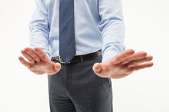 Unrecognizable businessman  demonstrating a gesture of a rejecti Stock Image