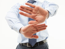 Unrecognizable businessman  demonstrating a gesture of a rejecti. On, white background Stock Photos