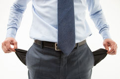 Unrecognizable businessman  demonstrating his empty pockets Stock Image