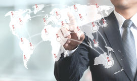 Unrecognizable Businessman Pointing on Map. Stock Photos