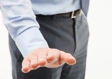 Unrecognizable businessman showing a calming gesture Stock Image