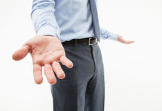 Unrecognizable businessman showing a gesture of a confusion Stock Photography