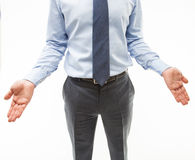 Unrecognizable businessman showing a gesture of a confusion Stock Images