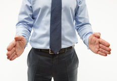 Unrecognizable businessman showing interval between his palms Royalty Free Stock Photography