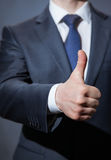 Unrecognizable businessman showing thumb up Stock Photography
