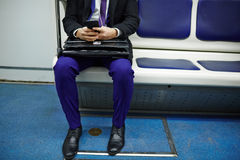 Unrecognizable Businessman on Subway Train stock photography