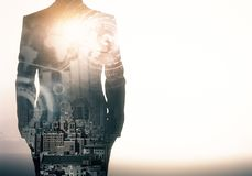 Employment and future concept. Unrecognizable businessman in suit standing on abstract city background with blurry business interface and white copy space vector illustration