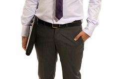 Unrecognizable businessman with suitcase isolated Stock Photos