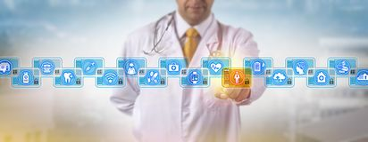 Doctor Accessing Male Patient Log In Blockchain. Unrecognizable cardiologist accessing the medical record of a male patient in a health care blockchain stock images