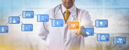 Clinician Accessing Block In Medical Blockchain. Unrecognizable clinician accessing block in blockchain of medical records. Internet metaphor for data management stock photography