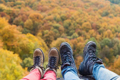 Unrecognizable couple in autumn nature Royalty Free Stock Photo