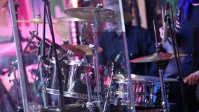 An unrecognizable drummer , a man playing drums, a drummer in a music band, a live performance. Anonymous Drummer. Anonymous Drummer Drumming on Stage - Close Up stock video