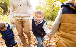 Unrecognizable father with his sons in autumn forest. Stock Image