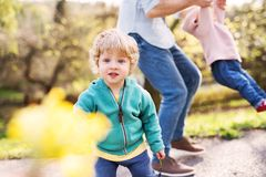 A father with his toddler children outside on a spring walk. An unrecognizable father with his toddler children outside on a sunny spring walk, having fun stock photos