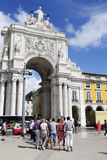 Unrecognizable Group of Tourists - Triumph Arch, Lisbon Stock Photos