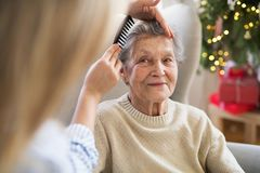 A health visitor combing hair of senior woman at home at Christmas time. An unrecognizable health visitor combing hair of senior women sitting on a sofa at home stock image