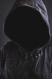 Unrecognizable hooded soccer hooligan portrait Royalty Free Stock Images