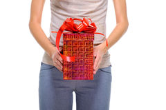 Unrecognizable human present the big red gift box Royalty Free Stock Image