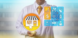 Pharmacist Forecasting Growth Of Self-Care Market. Unrecognizable independent pharmacist projecting increased profit of his e-pharmacy store. Pharmaceutical royalty free stock images