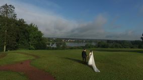Unrecognizable lovely wedding couple walking on the grass. Shot stock video footage