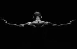 Unrecognizable mężczyzna pokazuje silnego szyja mięśni zbliżenie Obraz Royalty Free