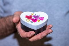Male hand holding heart shaped gift box Stock Image