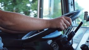 Free Unrecognizable Man Holding His Hands On Steering Wheel And Driving Car At Country Road On Warm Summer Day. Truck Driver Stock Photos - 135790413