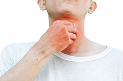 Unrecognizable man holds his throat, sore throat shown red. Keep handed, isolated on white background Stock Photo