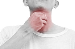 Unrecognizable man holds his throat, sore throat shown red. Keep handed, isolated on white background Royalty Free Stock Image