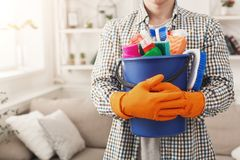 Unrecognizable Man Ready To Clean At Home Stock Photo