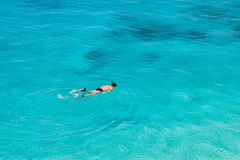 Unrecognizable man swimming at Porto Katsiki beach Royalty Free Stock Photo