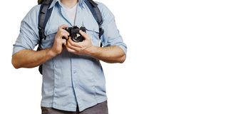 Unrecognizable Man Traveler Blogger Man With Backpack And Film Camera Isolated. Hiking Tourism Journey Concept. Unrecognizable Man Traveler Blogger Man With Royalty Free Stock Photos
