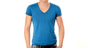 Unrecognizable man wearing blank blue v-neck t-shirt. Stock Image