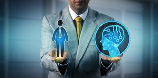 Manager Balancing One Male Worker And AI System. Unrecognizable manager balancing out one male white collar worker and an artificial intelligence system. HR royalty free stock photos