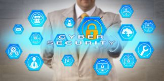 Unrecognizable Manager Pointing at CYBER SECURITY. Unrecognizable male corporate manager pointing at CYBER SECURITY onscreen. Information technology and Royalty Free Stock Images