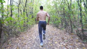 Unrecognizable muscular sportsman running along trail at early autumn forest. Young athlete sprinting along path at