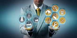 Executive Optimizing Well Performance Via Apps. Unrecognizable oil and gas executive optimizing well performance via virtual interface. Industry and tech concept stock photo
