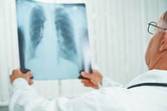 Unrecognizable older doctor examines x-ray image of lungs. Unrecognizable older man doctor examines x-ray image of lungs in a clinic royalty free stock photography