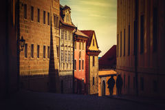 Unrecognizable People on Prague Street in Early Morning Royalty Free Stock Photo