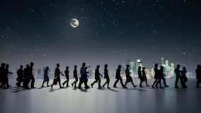 Unrecognizable people silhouette walking at night. Silhouettes of unrecognizable business people crowd walking under night sky with full moon against urban stock video