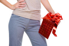 Unrecognizable person with the red present  box Stock Photo
