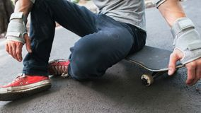 Unrecognizable Skater Ready To Next Competition Royalty Free Stock Image