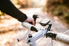 Unrecognizable sportsman riding his bicycle in sunny autumn natu Stock Photo