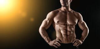 Free Unrecognizable Strong Athletic Sexy Muscular Man On Black Background Stock Photography - 172388822