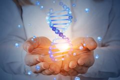 Woman holding dna helix hologram. Unrecognizable woman with blond hair holding blue dna helix hologram. Biotech, biology, medicine and science concept. Double stock images