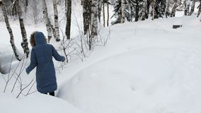 Unrecognizable woman in blue hooded jacket descends from the mountain on snowy path. Back view. Unrecognizable woman in blue hooded jacket descends from the stock footage
