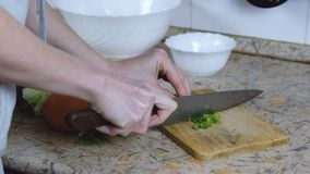 Unrecognizable woman cuts a green onion on a cutting board. Hands close up. Unrecognizable woman cuts a green onion on a cutting Board on a kitchen table stock video