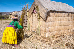 Unrecognizable woman in national costume Indian Uros Stock Photography