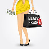 Unrecognizable woman with shopping bag. Vector illustration of unrecognizable woman in yellow dress holding a red shopping bag with black friday sale text Royalty Free Stock Photography